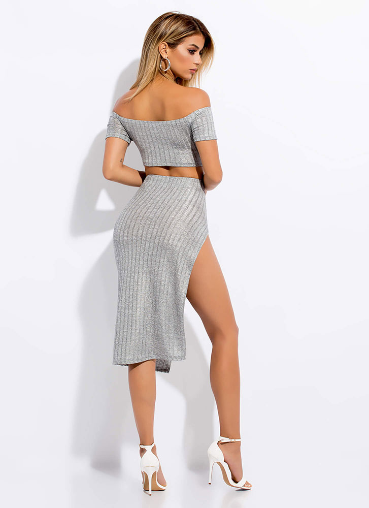 Slit Girl 2-Piece Off-Shoulder Dress GREY