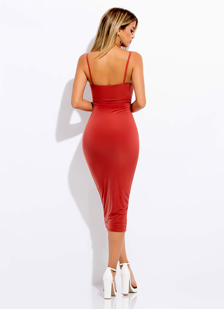 Smooth Transition Bodycon Dress RUST