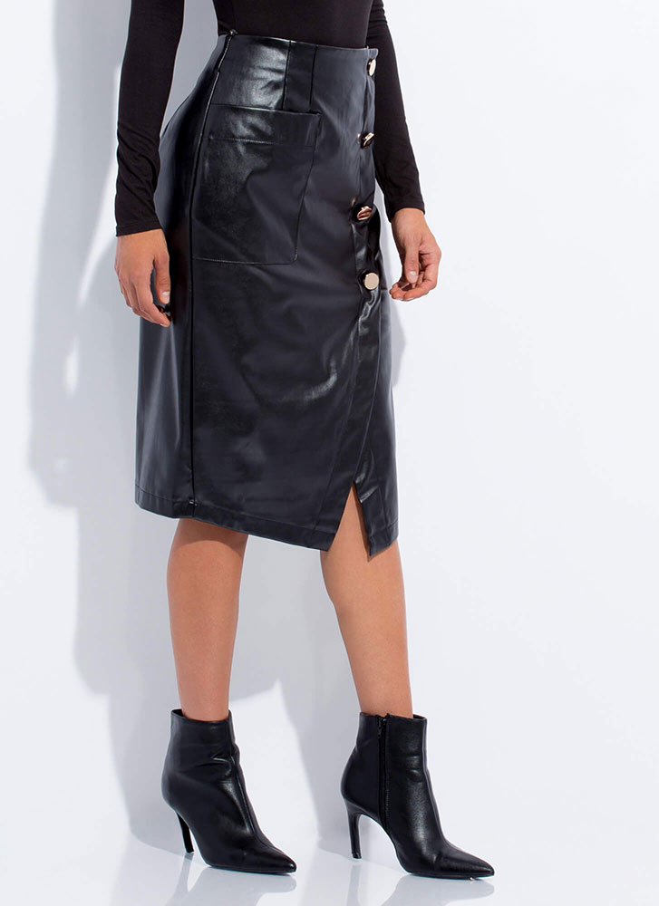All Wrapped Up Faux Leather Midi Skirt BLACK