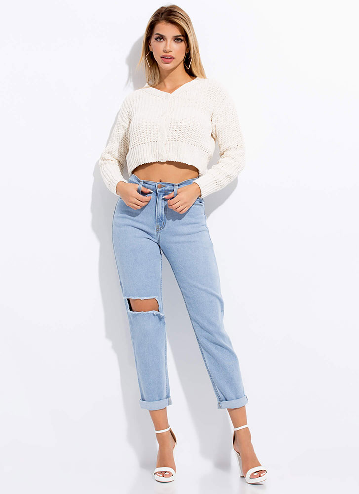 Short And Sweet Cropped Knit Cardigan IVORY