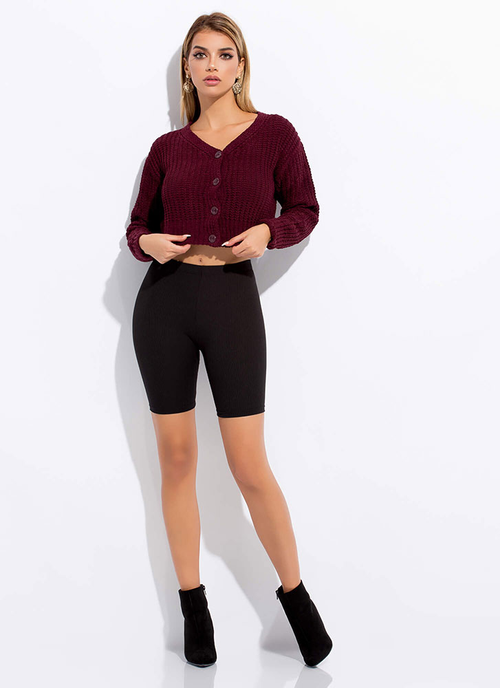 Short And Sweet Cropped Knit Cardigan WINE