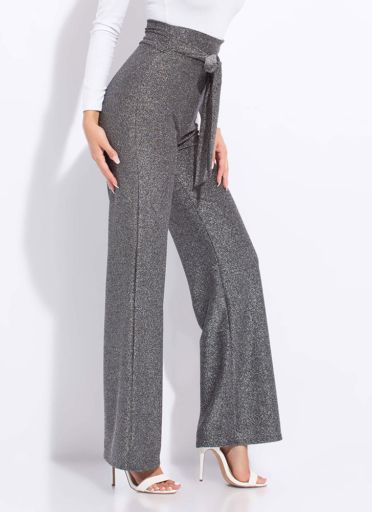 Glittery Night Out Tied Wide-Leg Pants SILVER