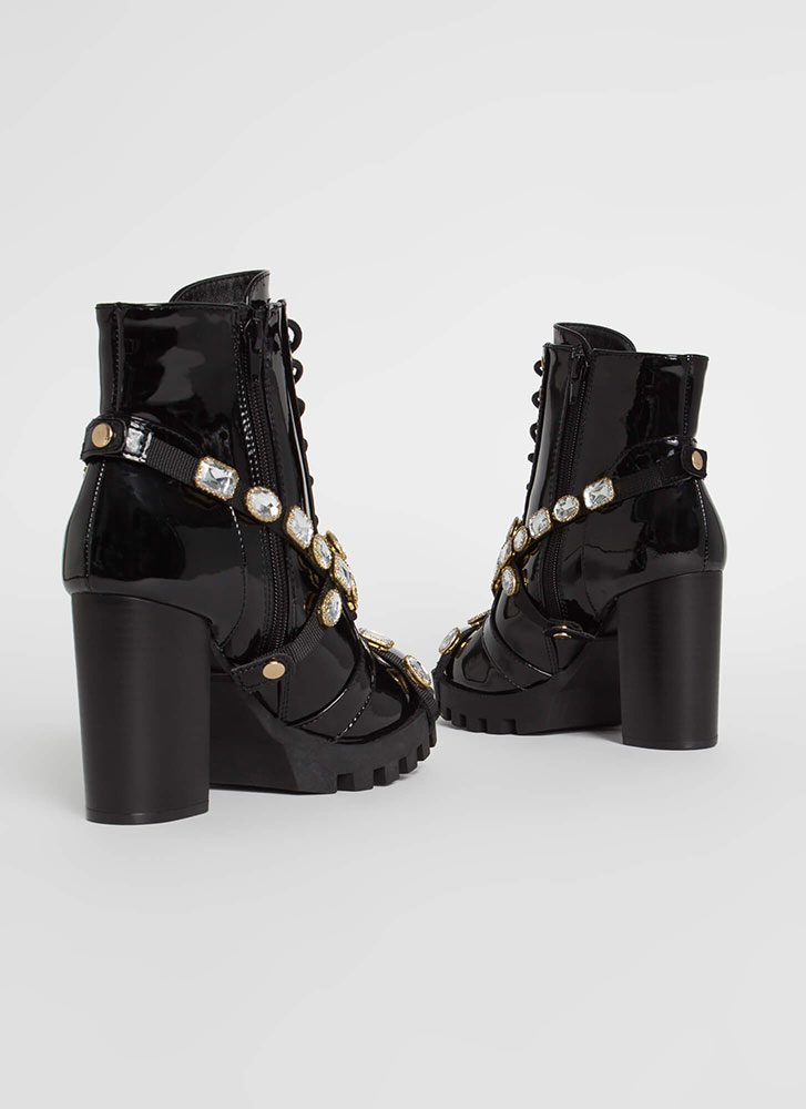 Mood Faux Patent Jewel Strap Booties BLACK