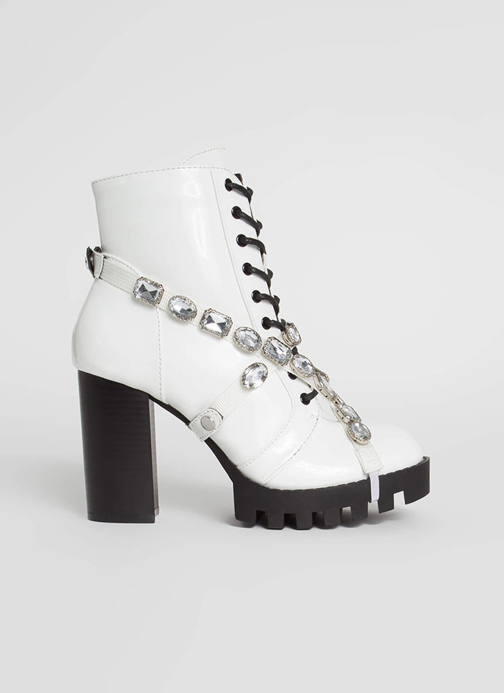 Mood Faux Patent Jewel Strap Booties WHITE