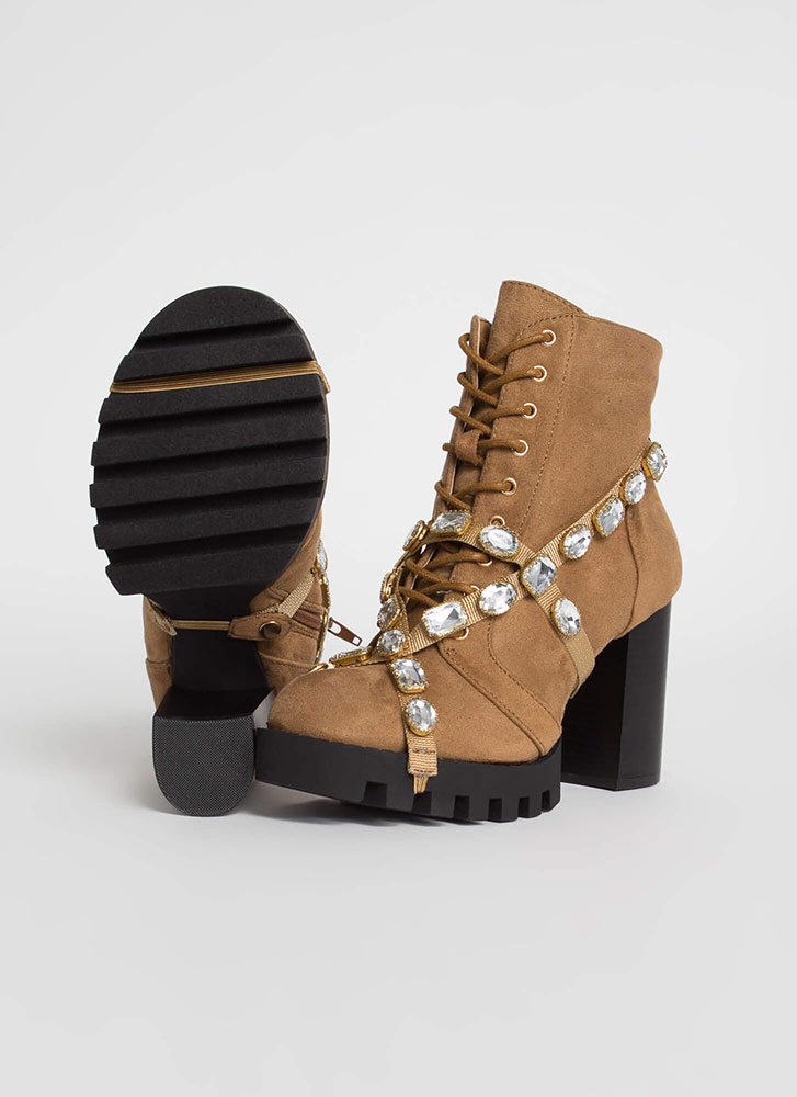 Mood Faux Suede Jewel Strap Booties CHESTNUT