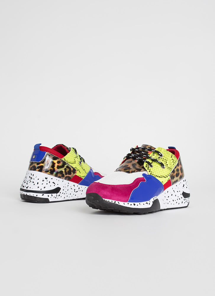 Spotted In My Colorblock Animal Sneakers FUCHSIA