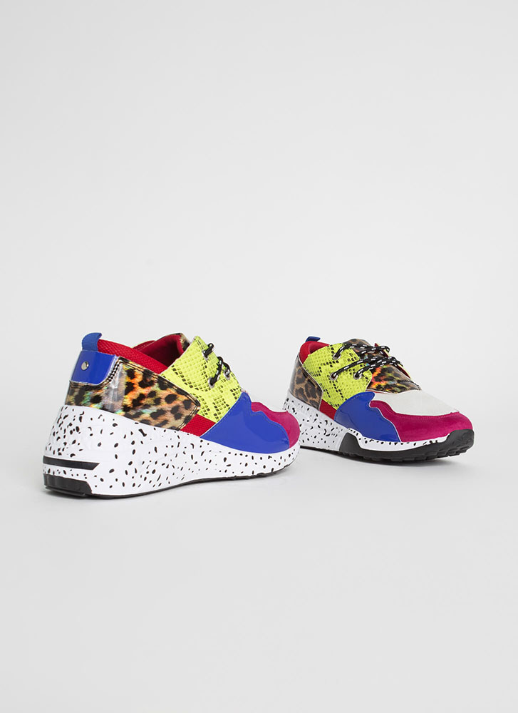 Spotted In My Colorblock Animal Sneakers FUCHSIA (Final Sale)
