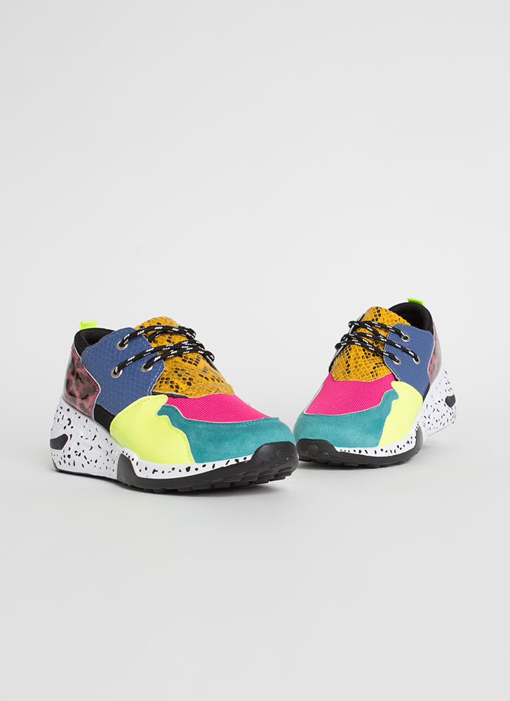 Spotted In My Colorblock Animal Sneakers TEAL (Final Sale)