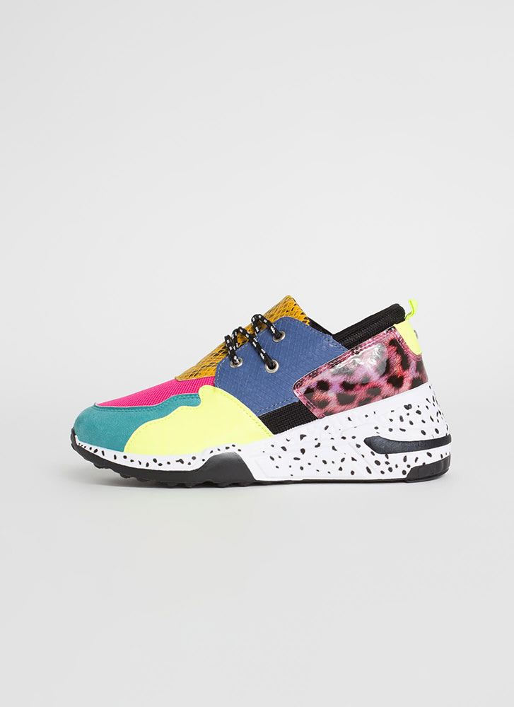 Spotted In My Colorblock Animal Sneakers TEAL
