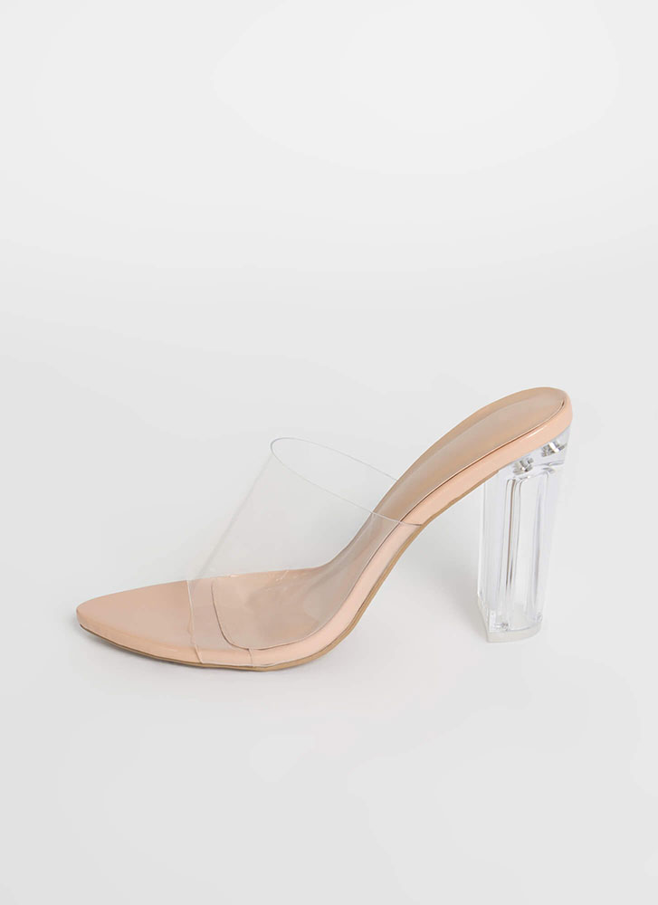 It's So Clear Chunky Illusion Mule Heels NUDE