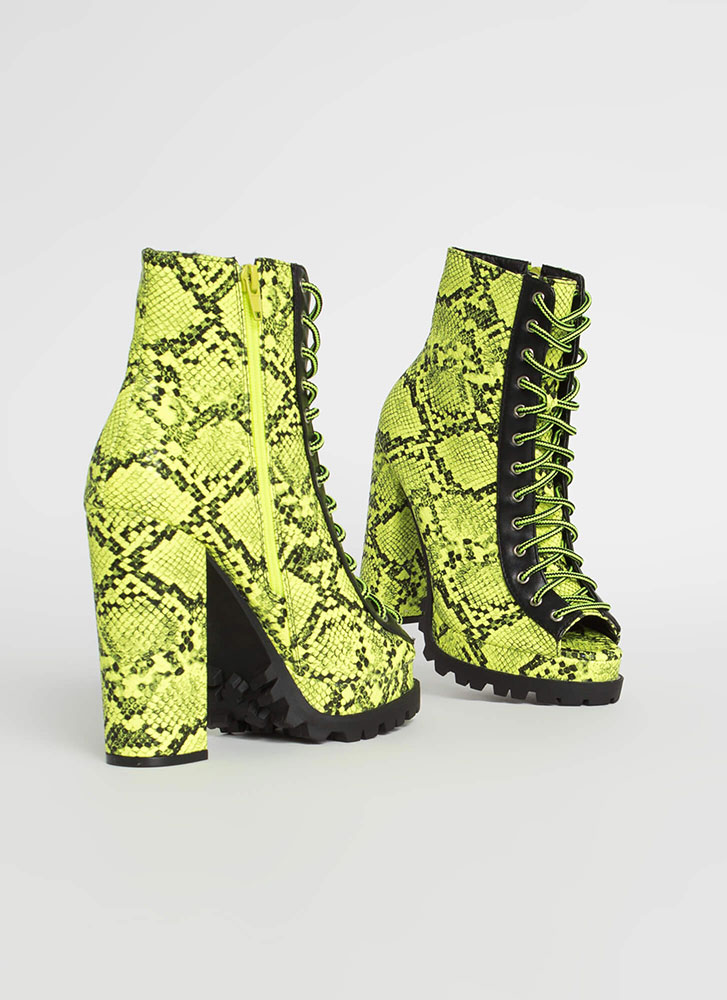 Snake Charm Lace-Up Peep-Toe Booties NEONGREEN