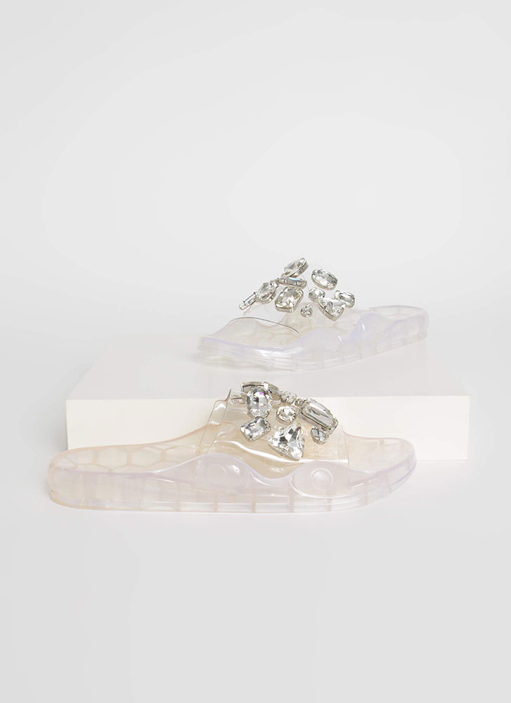 Clear Contender Jeweled Slide Sandals CLEAR