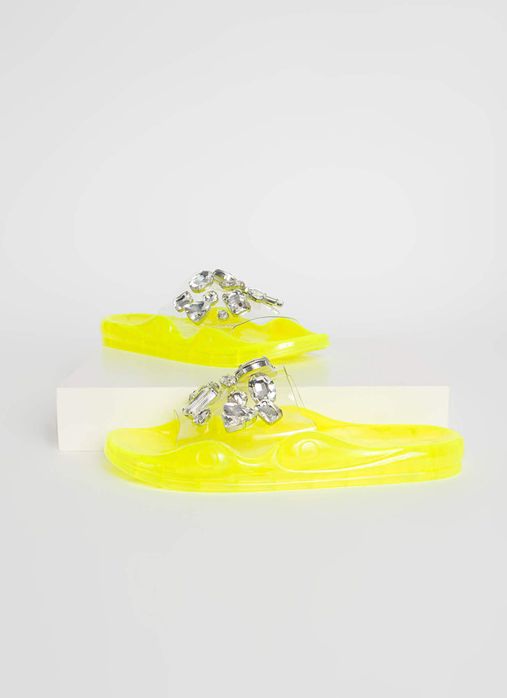 Clear Contender Jeweled Slide Sandals NEONYELLOW