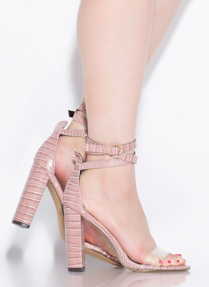 Wrap Goddess Clear Strap Heels MAUVE