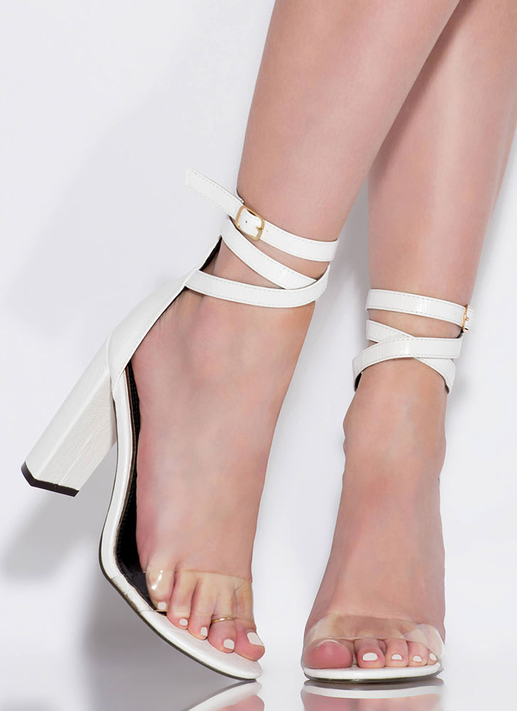 Wrap Goddess Clear Strap Heels WHITE