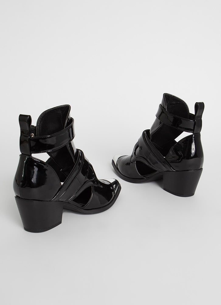 Put A Cap On It Strappy Cut-Out Booties BLACK