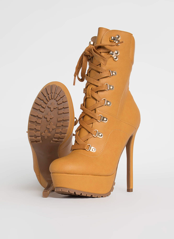 Dominate Faux Leather Stiletto Booties CAMEL