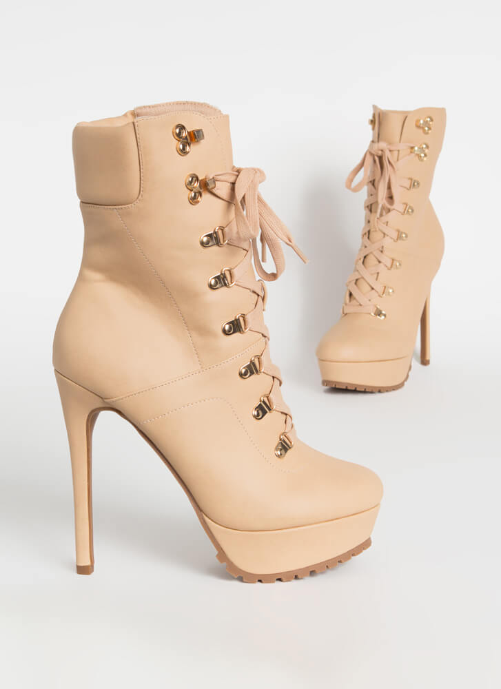 Dominate Faux Leather Stiletto Booties NUDE