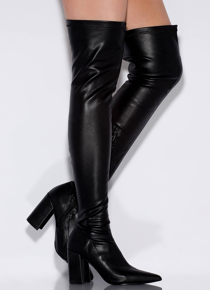 Leather Love Chunky Thigh-High Boots BLACK