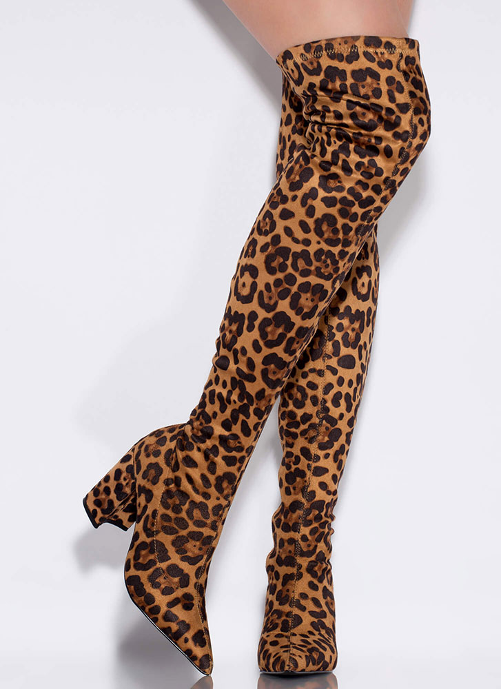 Leopard Love Chunky Thigh-High Boots LEOPARD