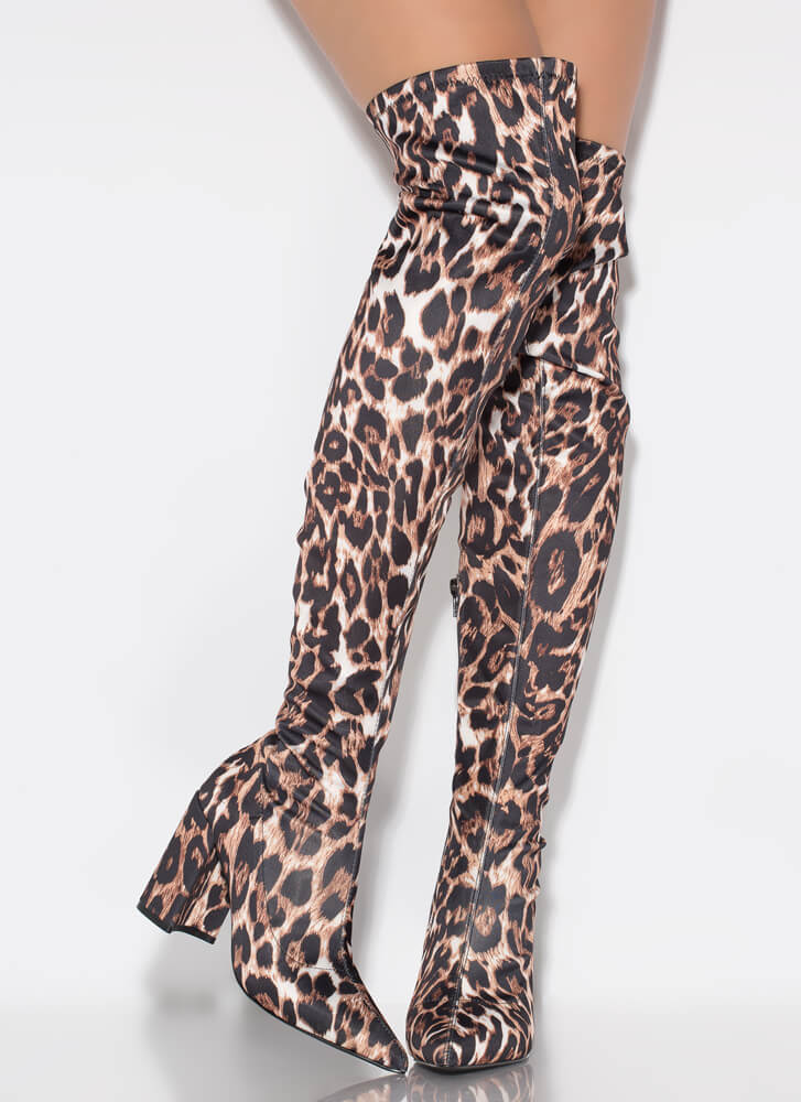 Leopard Love Chunky Thigh-High Boots WHITE