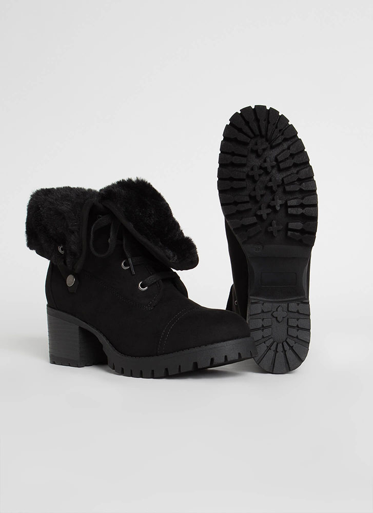 Just Fur Variety Foldover Combat Boots BLACK
