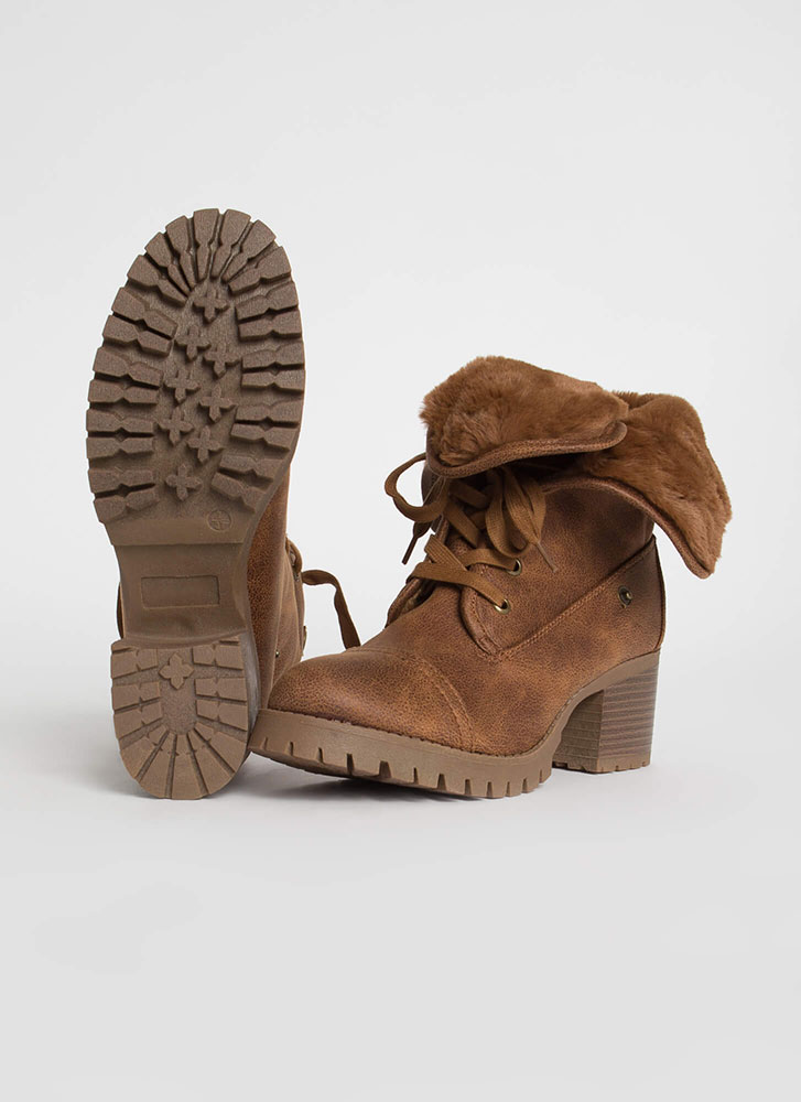 Just Fur Variety Foldover Combat Boots CHESTNUT