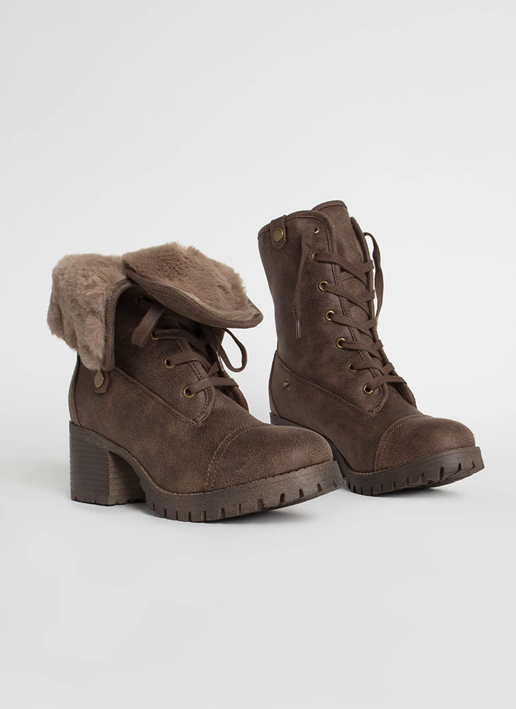 Just Fur Variety Foldover Combat Boots TAUPE