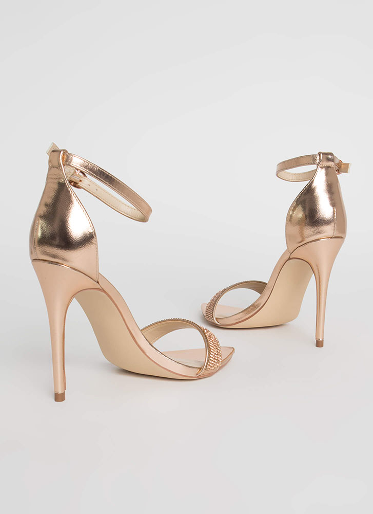 Add Some Sparkle Shiny Jeweled Heels ROSEGOLD