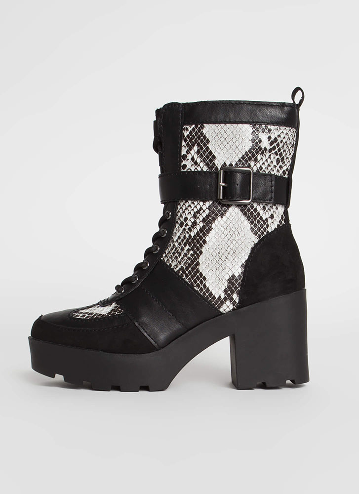 Cool Combat Strappy Snake Print Boots BLACK