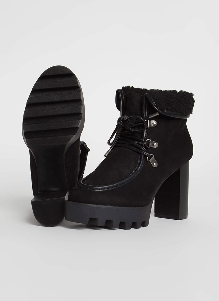 Flap Dance Chunky Faux Shearling Booties BLACK