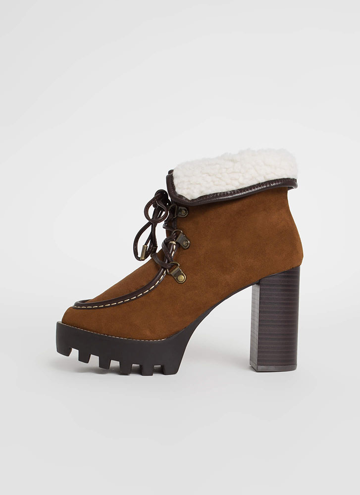 Flap Dance Chunky Faux Shearling Booties TOBACCO