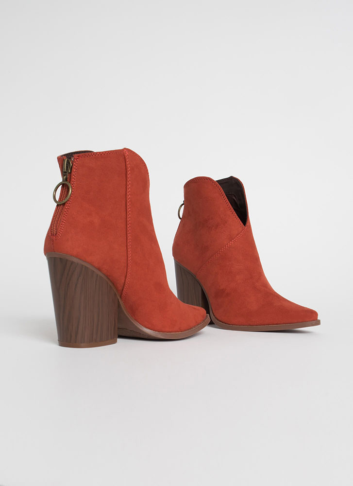 Cowgirl Chic Notched Block Heel Booties BRICK