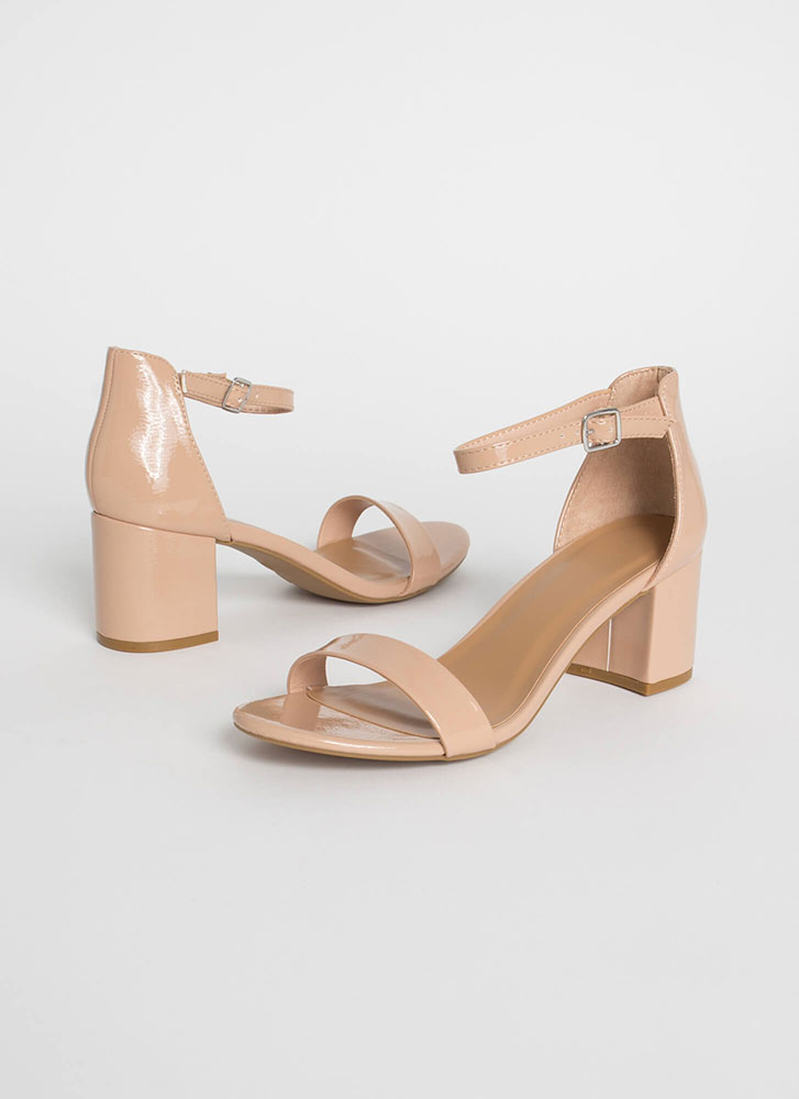 Up My Alley Faux Patent Block Heels NUDE