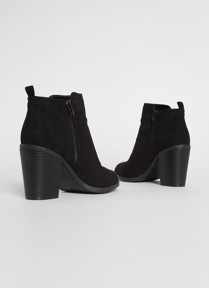 All I Want Chunky Faux Suede Booties BLACK