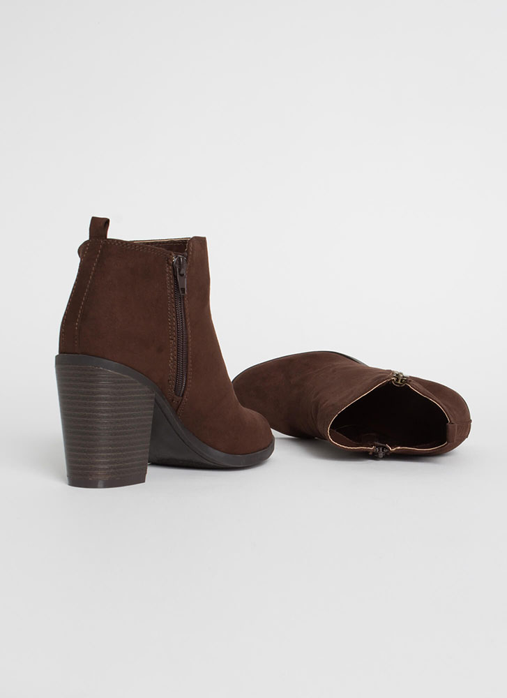 All I Want Chunky Faux Suede Booties BROWN