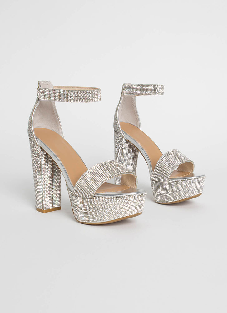super cheap outlet on sale unique style Sparkle Chunky Rhinestone Platform Heels