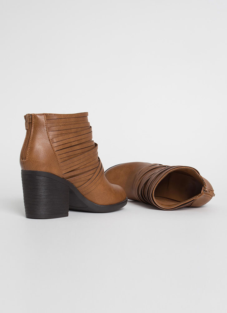 Wrapped In Straps Block Heel Booties CAMEL