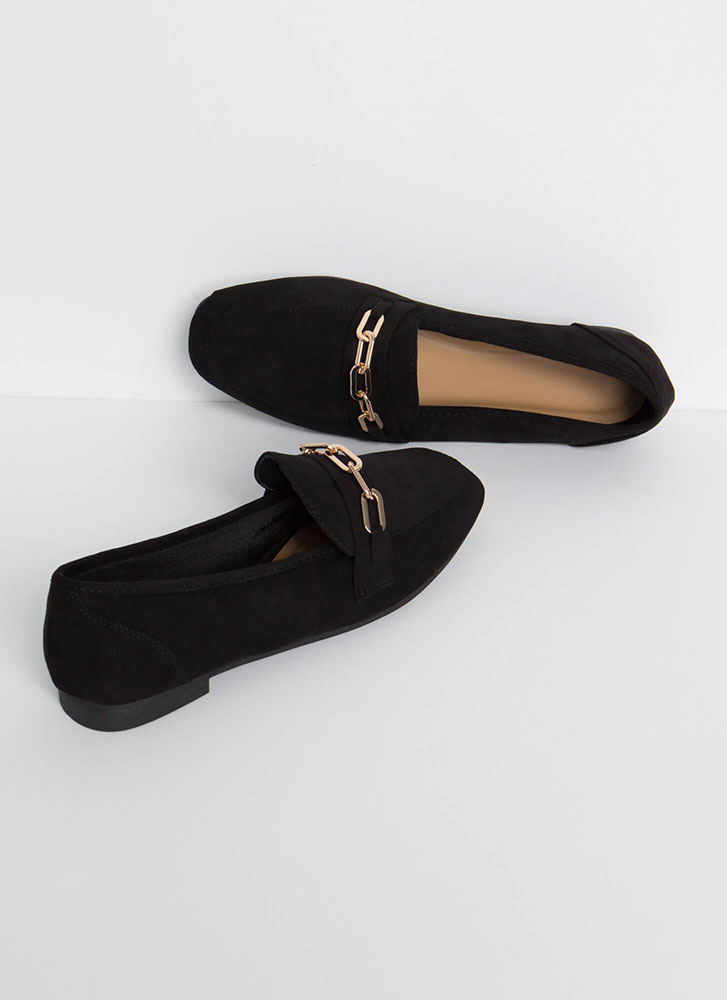 Link Twice Chained Loafer Flats BLACK