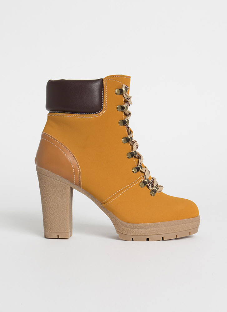 Woman At Work Chunky Lug Sole Booties CAMEL
