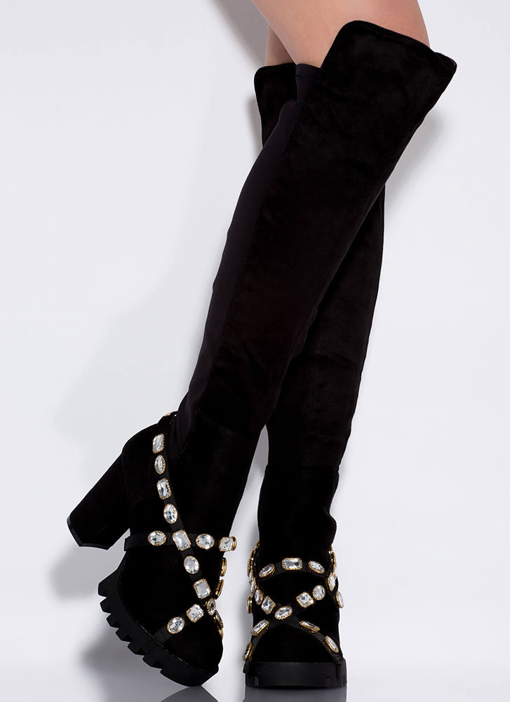 Mood Over-The-Knee Jewel Strap Boots BLACK