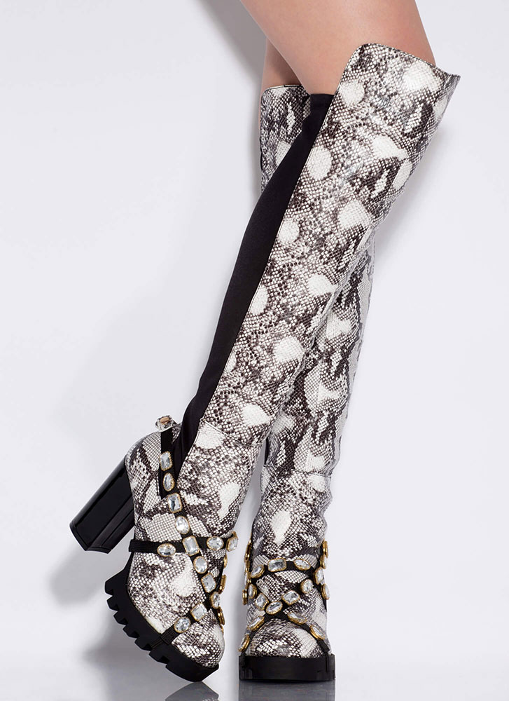 Mood Jewel Strap Thigh-High Snake Boots BLACKWHITE (Final Sale)