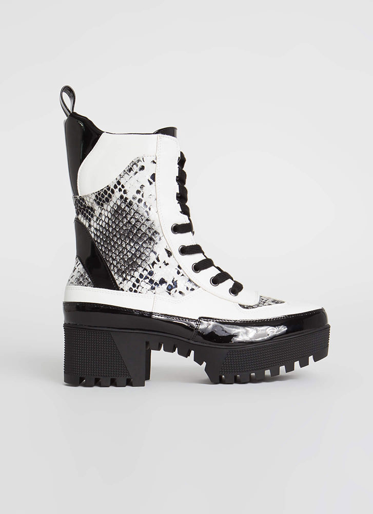 Soldier On Snake Print Platform Boots BLACKWHITE