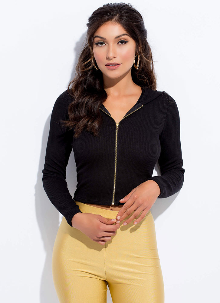 Out And About Zip-Front Hoodie Top BLACK