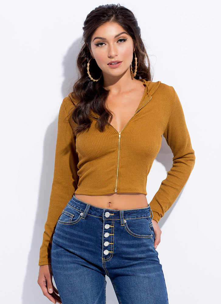 Out And About Zip-Front Hoodie Top BROWN