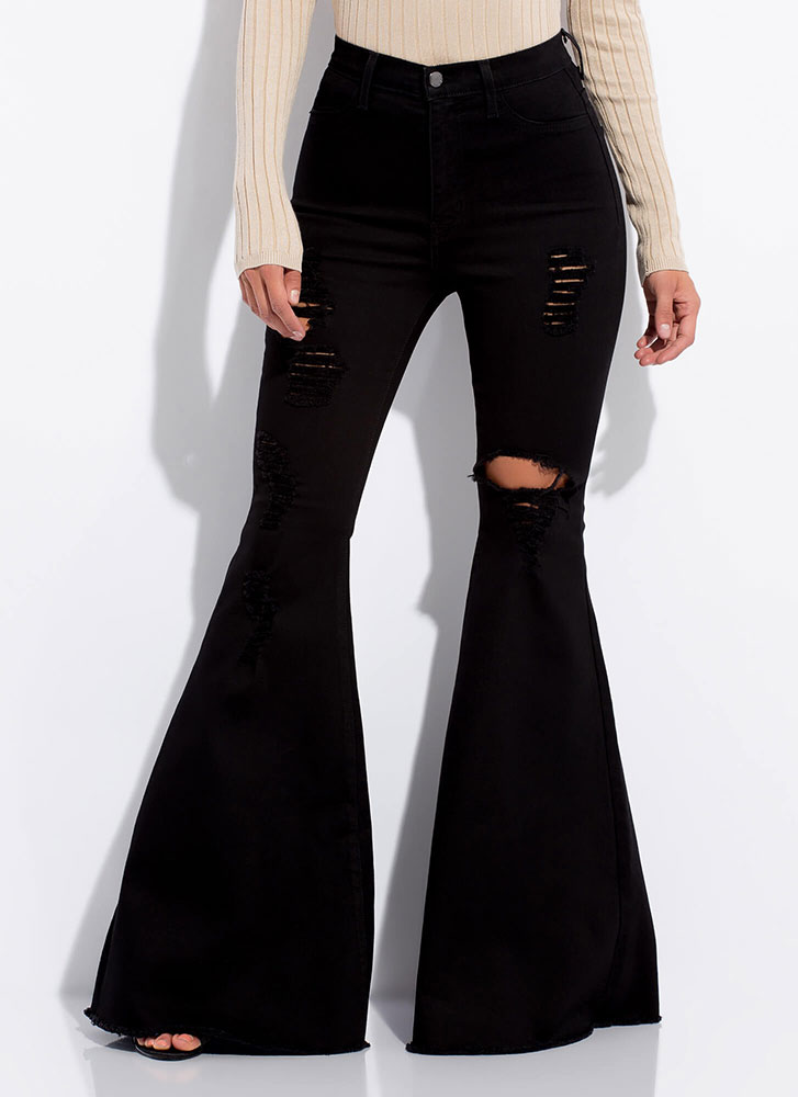 Play Flare Distressed Bell-Bottom Jeans BLACK