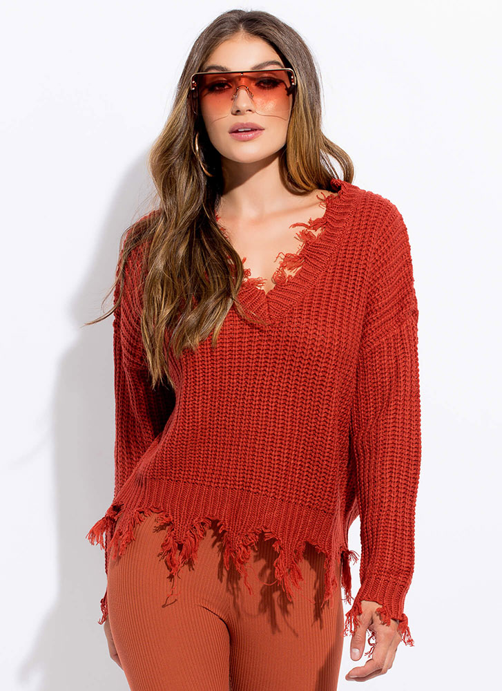 Mind Over Tatter Fringed Knit Sweater RUST