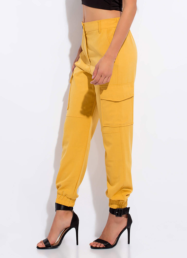 Ready For The Weekend Cargo Joggers MUSTARD