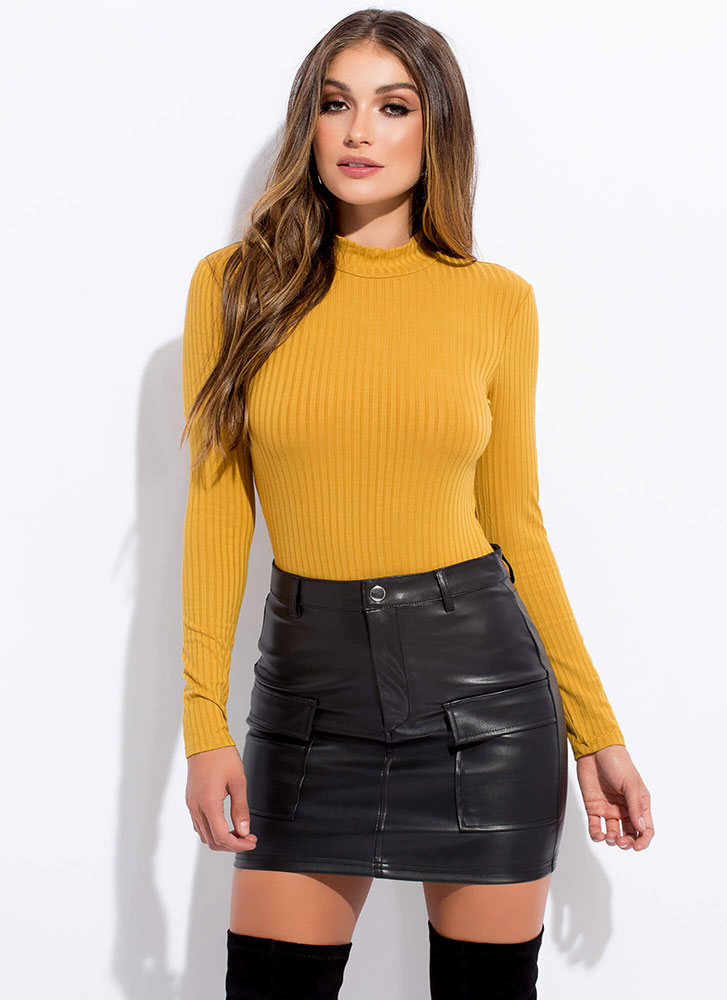 In My Pocket Faux Leather Miniskirt BLACK