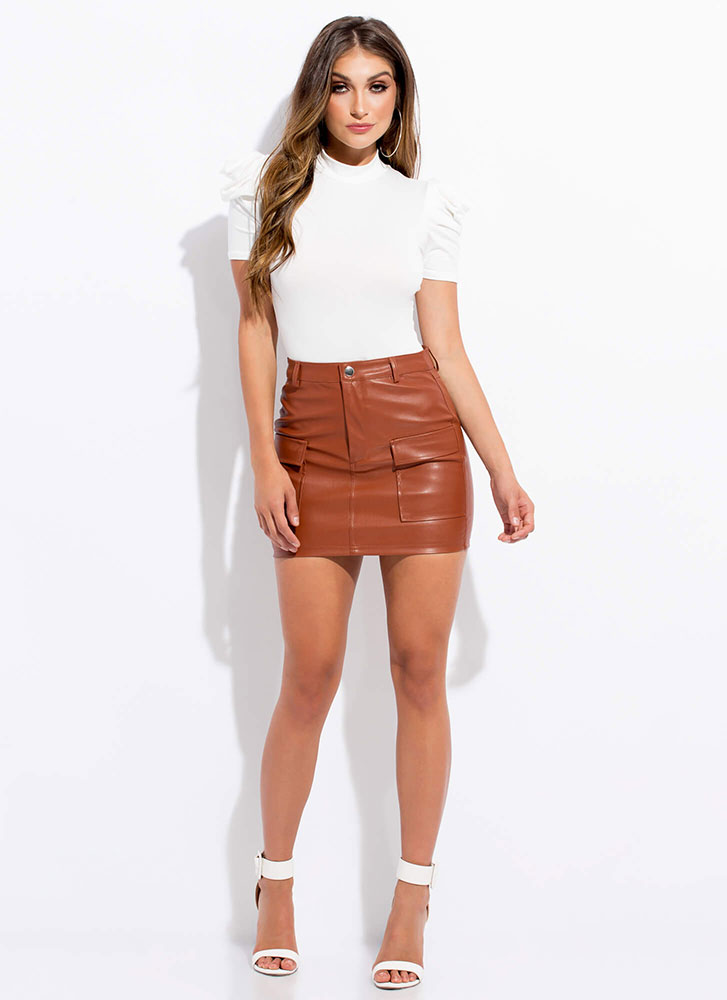 In My Pocket Faux Leather Miniskirt RUST
